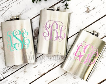 Monogram Flask | Bridesmaid Gifts | Bachelorette Party Favors | Personalized Flask | Stainless Steel Hip Flask Bridal Party Gift