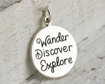 Wanderlust Necklace - Sterling Silver Wander Necklace - Not All Who Wander Necklace - Wander Jewelry - Gift for Traveler - Traveler Jewelry