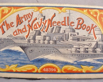 WW1 Army Navy Needle Book with Battleships Cover - Nearly Complete - Japan