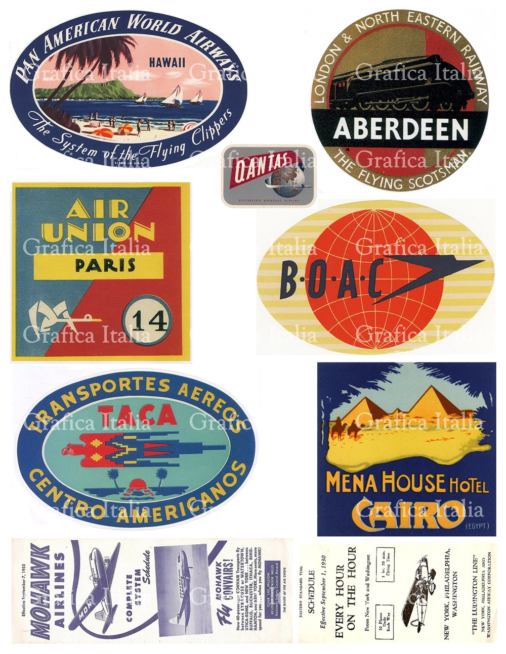 6 Travel Labels Clipart