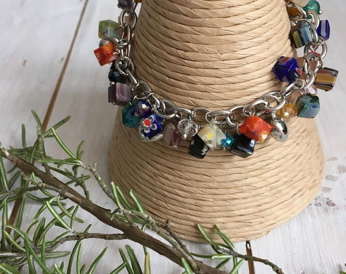 Rainbow  Beads and Silver Tone Heart Charm Bracelet