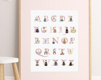 "11""x14"" ABCs Girl Saints Print"