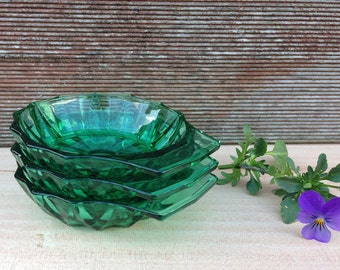 Arcoroc Small Bowls Green Glass set of 3