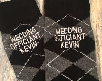 Officiant Socks - Officiant Gift - Wedding Socks - Wine Navy Argyle - Minister gift - Reverend Socks - Wedding Gift - Wedding Officiant Uj06PJ