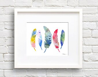 Colorful Feathers Art Print - Abstract Watercolor Painting - Wall Decor