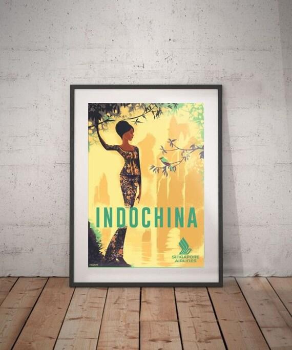 indochina indochina travel poster wall decor vintage