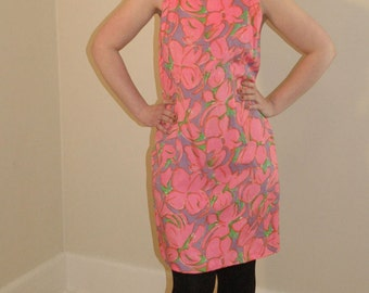 Summer Cocktail Dress Floral Print Pink Shift Vintage 1960s Silk Sheath