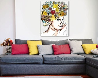 ON SALE 20% OFF Be Fabulous - Stretched Canvas print, bohemian art, mixed media collage art, canvas wall art, boho chic decor, canvas art, c
