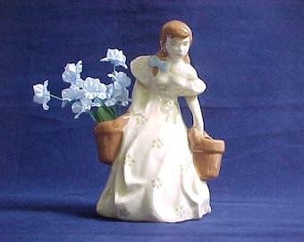 Vintage California Pottery Figure of Girl w/ Bucket Flower Holders, Mid Century Figurine Knick Knack For Home Decor, Desktop Pencil Holder
