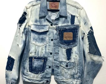Stylish Distress Bleached Multi colored Denim Jacket (Fitted LARGE)