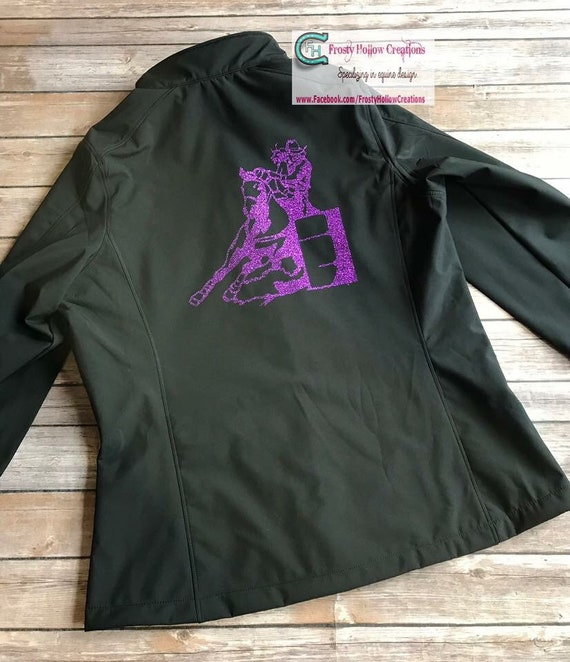 Ladies pole bender waterproof softshell jacket. Can chaser, horse jacket, personalized, clothing, equestrian, custom, western, riding.