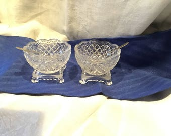 2 Avon Pressed Glass Footed Salt Cellars with Spoons