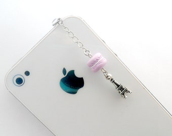 Macaron Eiffel Tower Dust Plug Charm, For iPhone or iPod, Kitsch Tiny Macaroon, Phone Charm, Cute And Kawaii :D