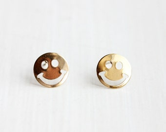 Smiley Face Studs, Gold Smiley Face Studs, Round Gold Studs