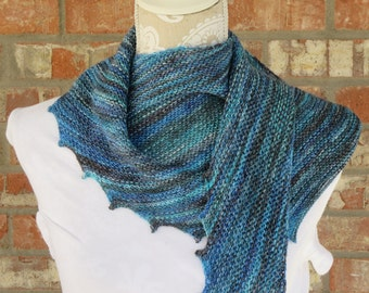 Hand knit shades of turquoise and blues hitchhiker scarf
