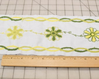 Green and Yellow Embroidered Trim, Wide, 7 Yards