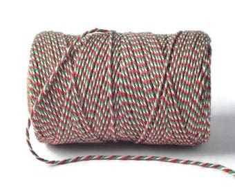 Red, White & Green 2mm 100% Cotton Bakers Twine *Sold Per 5mtr*