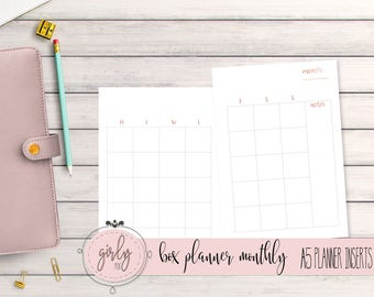"MONTHLY PLANNER UNDATED | Planner Printable Inserts A5 | ""Diva Planner Collection"""