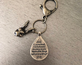 Alice in wonderland antique gold quote keychain