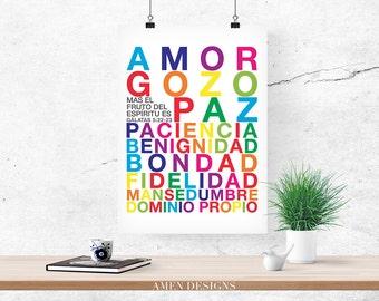 Fruto del Espiritu. Spanish. Fruit of the Spirit. Galatians 5:22-23. PRINTABLE DIY Christian Poster. Nursery Decor. 8x10. Bible Verse.