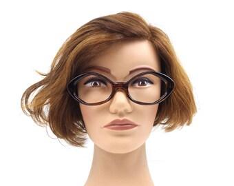 vintage. glasses. french. retro. mens. plastic. eye glasses. france. hipster. boho. vintage glasses. brown. women.