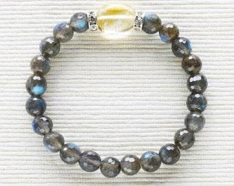 Labradorite Bracelet . stacking labradorite citrine bracelet jewelry