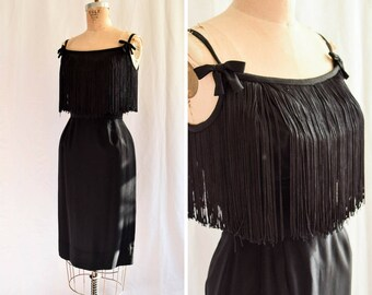Wanda | Vintage 1950's Fringe Dress Black Wiggle Dress Rayon Crepe 50s Shelf Bust Bows at Straps Shimmy Wanda Jackson Style LBD Bust 34
