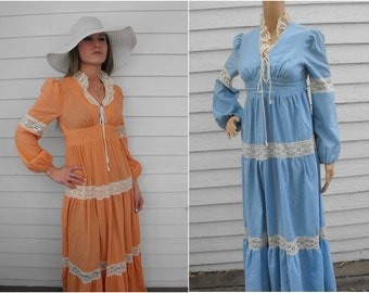 Prairie Dress Corset Gunne Style Vintage Boho Lace Orange or Blue 60s 70s XS