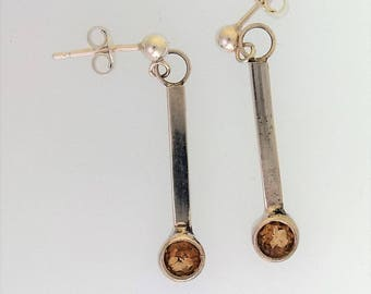Citrine and Silver Drop Earrings