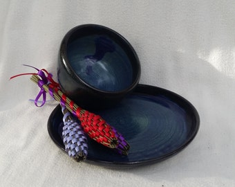 My Plate Ceramic Wheel Thrown Plate Bowl Dark Denim Blue With Black Rim Soup Sandwich
