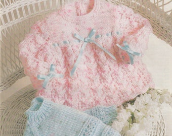 Baby's Jumper and Angel Top in DK 8 ply yarn, sizes 16 - 22 ins - Cuddles 1055 - Pdf of Vintage Knitting Patterns