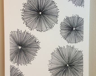 flower, dandelion, permanent marker, canvas, black and white