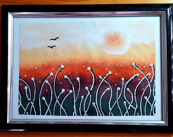 Spring fields acrylic painting abstract art