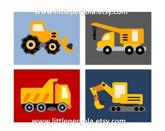 Construction Art for Boys // Construction Vehicles Nursery Art // Construction Art for Toddlers Room // Truck Decor // 4-8x10 PRINTS ONLY