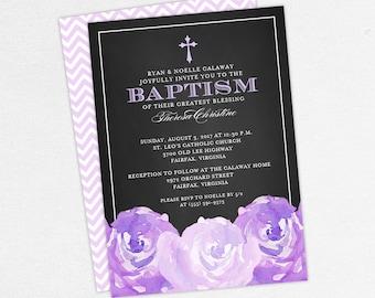 Baptism Invitation, Christening Invitation, Girl Baptism, Printable Baptism Invitation, PDF, Chalk, Floral, Watercolor, Peony, Purple, Haley