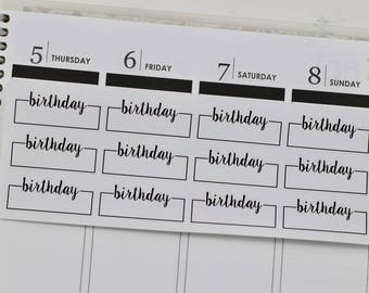 Birthday Planner Stickers, Birthday Stickers, Happy Birthday Stickers, Birthday Quarter Boxes, Quarter Box Stickers