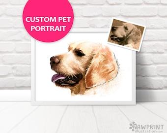 Custom Pet Portrait of any pet - Printed digital pet portrait from photo, pet painting of any pet cat dog guinea pig rabbit, memorial gift