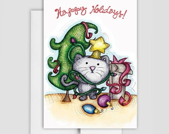 HOLIDAY CAT CARD - Holiday Cat Card - Messy Cat Holiday Greeting Card
