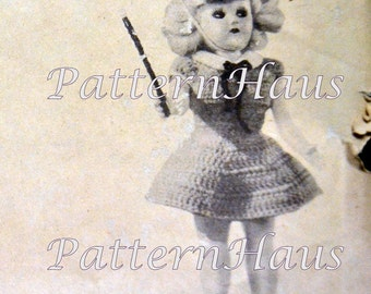 Instant Download Doll's Crocheted Clothes for 7-8 inch dolls Junior Pi and Majorette