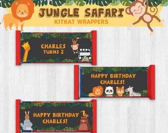 Animal Zoo/ Jungle Safari/ Animal Safari EDITABLE Birthday Party Kit Kat Wrappers/ Kit Kat Labels/ Kit Kat Stickers Printable