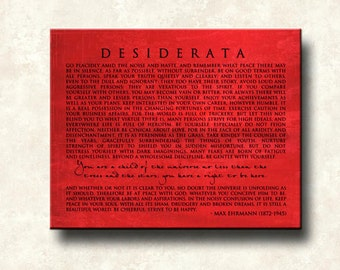 Desiderata Contemporary Print Poem - 16x20 Word Art Print - Gallery Wrapped Canvas - ready to hang