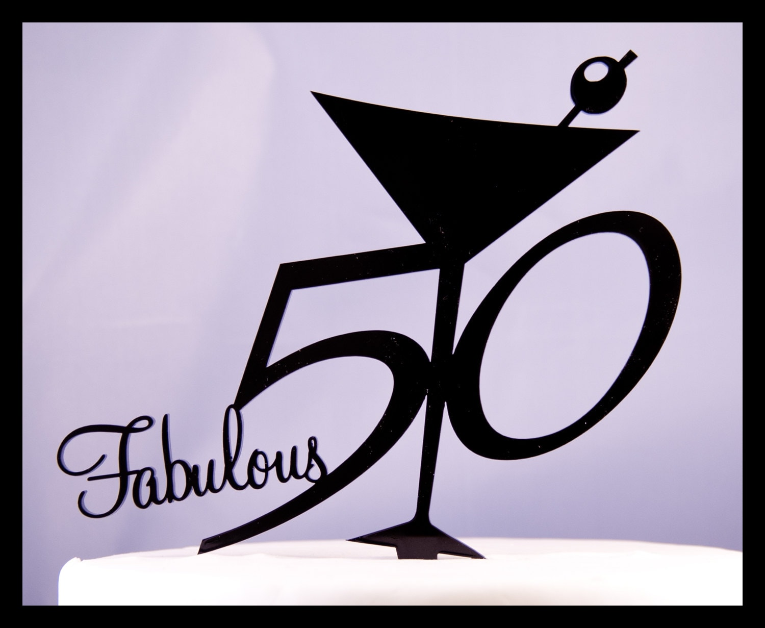Fabulous Fifty 50 birthday cake topper Martini glass