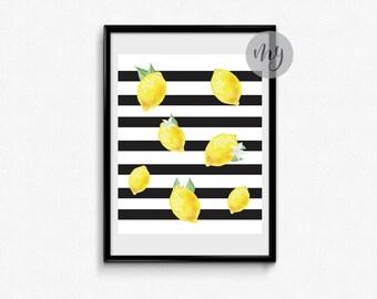 Lemon Print, Kitchen Wall Art, Watercolor Lemon Print, Kitchen Print, Fruit Print, Lemon Wall Art, Kitchen Fruit Print, Printable Wall Art