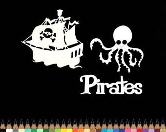 Découpes scrapbooking bateau mot pirate pieuvre animal découpe papier embellissement die cut création