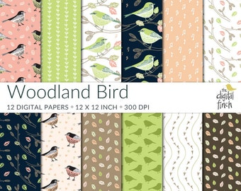 "Woodland Bird Digital Paper Pack - scrapbooking paper 12x12"" 300 dpi - birds digital scrapbook - instant download - commercial use"
