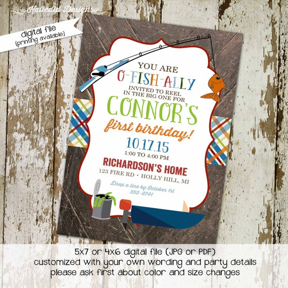 Fishing baby shower invitation Rustic baby boy shower invitation Little boy 1st birthday Retirement party can of worms boat | 223 katiedid