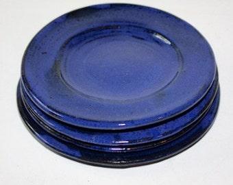 Cobalt Blue Plates in Cobalt Blue Stoneware Good for Salad Lunch Dessert Four MADE & Cobalt blue plate   Etsy