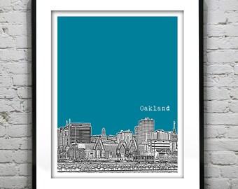 Oakland California Skyline Poster Art Print California CA Version 1