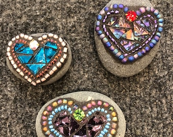 "Mini mosaic heart rocks""Rocks of Love"""