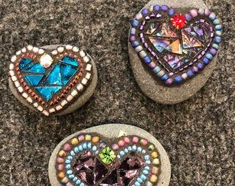 "Mini mosaic heart rocks""Rocks of Love"""